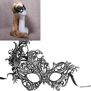 Halloween Masquerade Party Dance Sexy Lady Lace Phoenix Mask(Black)