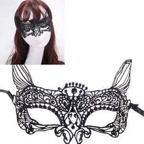 Halloween Masquerade Party Dance Sexy Lady Lace kat koning Mask(Black)