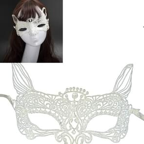 Halloween Masquerade Party Dance Sexy Lady Lace kat koning Mask(White)