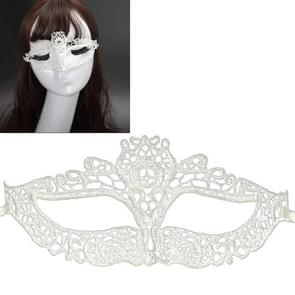Halloween Masquerade Party Dance Sexy Lady Lace waterfles Mask(White)