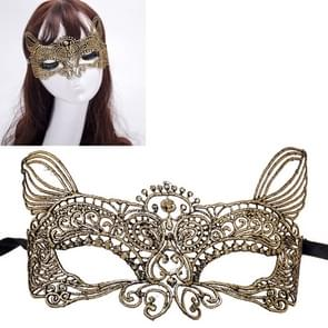 Halloween Masquerade Party Dance Sexy dame bruinen Lace kat koning Mask(Gold)