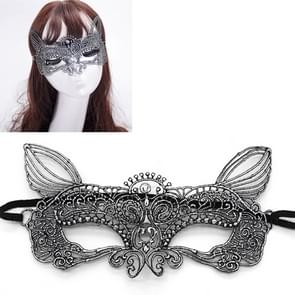 Halloween Masquerade Party Dance Sexy dame bruinen Lace kat koning Mask(Silver)