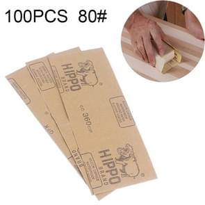 100 PCS Grit 80 Wet And Dry Polishing Grinding Sandpaper,Size: 23 x 9cm(Yellow)