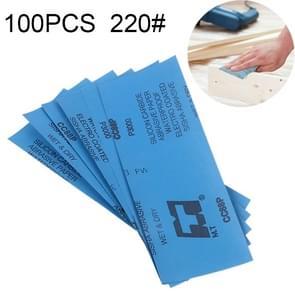 100 PCS Grit 220 Wet And Dry Polishing Grinding Sandpaper,Size: 23 x 9cm (Blue)
