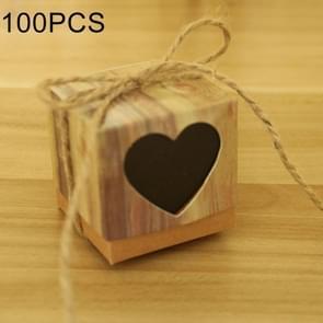 100 PCS Wedding Wood Grain Black Heart-shaped Pattern Hollowed-out Kraft Paper Sugar Box, Size: 5*5*5cm