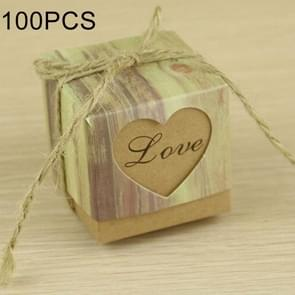 100 PCS Wedding Wood Grain LOVE Heart-shaped Pattern Hollowed-out Kraft Paper Sugar Box, Size: 5*5*5cm
