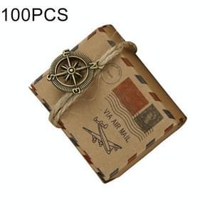 100 PCS European Wedding Retro Kraft Paper A Compass Mail Pattern Sugar Box, Size: 6*3.5*4.5cm