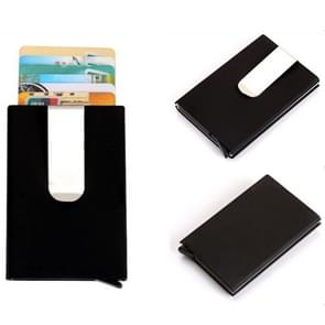 Frosted Antimagnetic Solid Color Credit Card Holder Money Clip Wallet, Size: 10*6.6cm(Black)