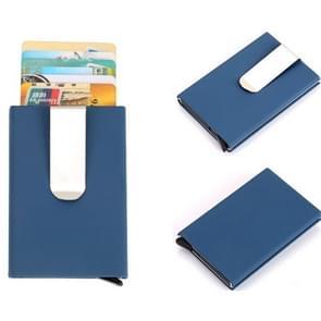 Frosted Antimagnetic Solid Color Credit Card Holder Money Clip Wallet, Size: 10*6.6cm(Blue)