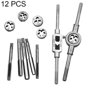 12 PCS Multi-specification Tap and Die Combination Set Hand Metric Wire Tapping Wrench Winch