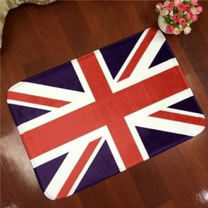 UK Flag Pattern Rectangular Bathroom Living Room Bedroom Door Flannel Anti-skid Household Foot Pad Carpet, Size: 50cm x 80cm