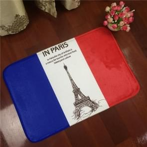 France Flag Pattern Rectangular Bathroom Living Room Bedroom Door Flannel Anti-skid Household Foot Pad Carpet, Size: 50cm x 80cm