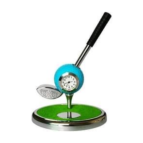 Metal Ball Pen Creative Golf Club Clock Wooden Pen Holder (Blue)