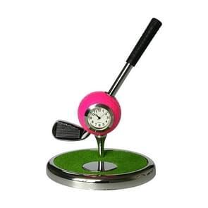 Metal Ball Pen Creative Golf Club Clock Iron Pen Holder (Rose Red)