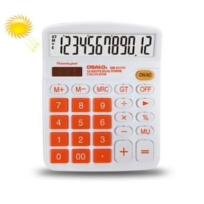 OSALO OS-837VC 12 Digits Colorful Desktop Calculator Solar Energy Dual Power Calculator(Orange)