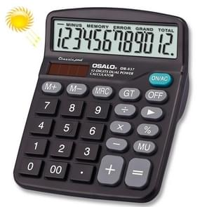 OSALO OS-837 12 Digits Desktop Calculator Solar Energy Dual Power Calculator