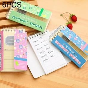 6 PCS 100 Sheets Coil Book Vocabulary Notebook Word Notepad Writing Memo Book, Random Color Delivery