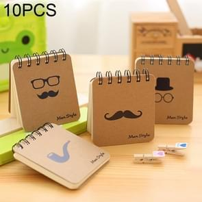 10 PCS Mustache Print Coil Memo Pad Notes Bookmark School Office Supply, Random Color Delivery