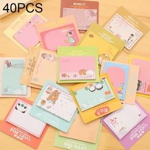 40 PCS Cartoon Print Self Adhesive Memo Pad N-times Sticky Notes Post It Bookmark School Office Supply, Random Color Delivery