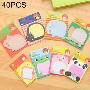 40 PCS Cartoon Animal Shaped Self Adhesive Memo Pad N-times Sticky Notes Post It Bookmark School Office Supply, Random Style Delivery