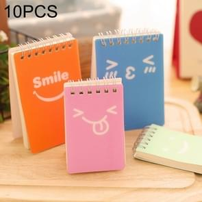 10 PCS Smiling Face Print Binder Ring Coil Memo Pad Notes Ruled Notepads School Office Supply, Random Style Delivery