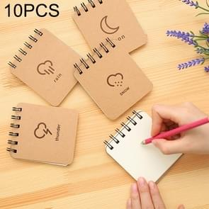 10 PCS Weather Forecast Print Binder Coil Memo Pad Notes Ruled Notepads School Office Supply, Random Style Delivery