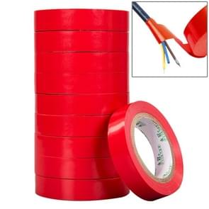10 PCS 16mm Waterproof PVC Insulating Tare Electricians Electrical Tape(Red)
