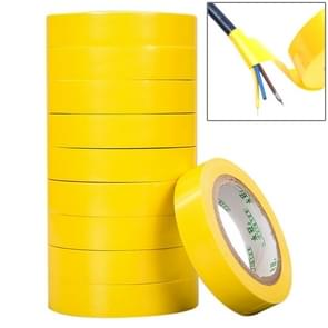 10 PCS 16mm Waterproof PVC Insulating Tare Electricians Electrical Tape(Yellow)