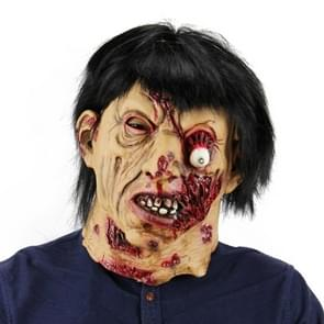 Halloween Festival Party Latex Black Hair Zombie Frightened Mask Headgear, with Hair