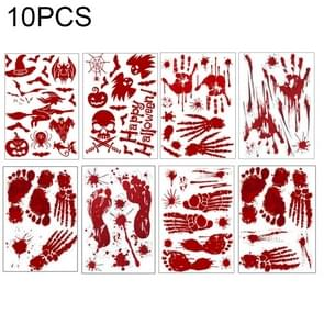 10 PC's Halloween decoraties PVC Creative bloed-gedrukte muur Stickers Raamstickers  grootte: 25 * 30cm  willekeurige stijl-levering