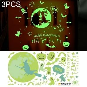 3 PCS Halloween Decorations PVC Creative Wall Decorations Luminous Stickers, Size: 30*60cm, Random Style Delivery