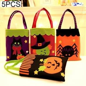 5 PCS Halloween Decoration Creative Cartoon Candy Gift Square Tote for Children, Random Style Delivery