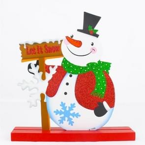 Christmas Shop Hotel Restaurant Decoration, Glitter Powder Wooden Snowman Pattern Christmas Decoration Ornaments Gifts