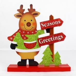 Christmas Shop Hotel Restaurant Decoration, Glitter Powder Wooden Moose Pattern Christmas Decoration Ornaments Gifts