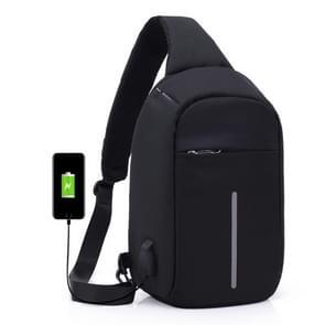 Multifunctionele draagbare Casual borst zak buiten sport anti-diefstal schoudertas met externe USB lading Interface voor mannen / vrouwen (zwart)