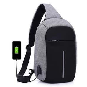 Multifunctionele draagbare Casual borst zak buiten sport anti-diefstal schoudertas met externe USB lading Interface voor mannen / vrouwen (grijs)