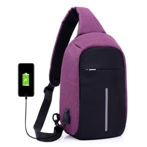 Multifunctionele draagbare Casual borst zak buiten sport anti-diefstal schoudertas met externe USB lading Interface voor mannen / vrouwen (paars)