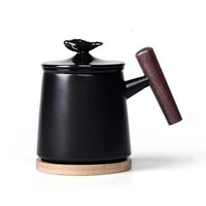 Draagbare Office keramische mok filter theekopje met cover (zwart)