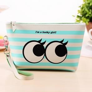 2 PCS Portable PU Creativity Water-proof Stripe Big Eyes Pattern Travel Cosmetic Organizer Bag