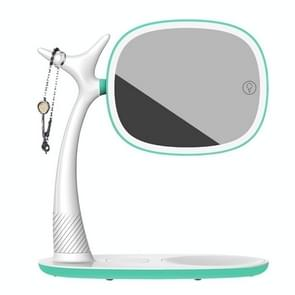 Multi-functional Double-Sided Retractable Makeup Mirror with LED Fill Light (Mint Green)