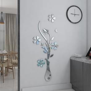 2 PC's creatieve 3D vaas stijl Mirror DIY muur Sticker Set  maat: 40*60cm(Silver)