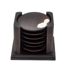 Retro Solid Wood Black Sandalwood Tea Cup Cushion Set, Lotus Leaf Version