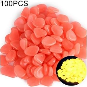 100 PCS Glow in The Dark Garden Pebbles for Walkways & Decoration and Plants Luminous Stones(Watermelon Red)