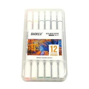 12 PCS Student Mark Pen Set Art Painting Double-Headed Oil Pen, 12 Colors