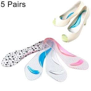 5 Pair Women Silicone Gel Massage Arch Support Insoles Orthotic Flatfoot Prevent Foot Cocoon High Heels Shoes Pad ,Random Color Delivery