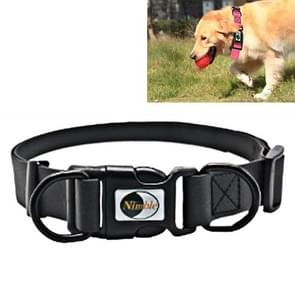 PVC Material Waterproof Adjustable Dual Loop Pet Dogs Collar, Suitable for Ferocious Dogs, Size: L, Collar Size: 39-63 cm (Black)