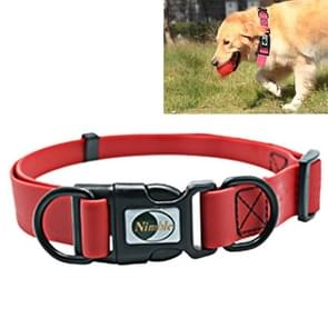 PVC Material Waterproof Adjustable Dual Loop Pet Dogs Collar, Suitable for Ferocious Dogs, Size: L, Collar Size: 39-63 cm (Red)