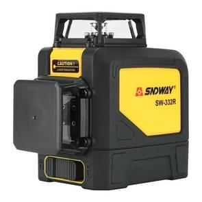 SNDWAY SW-332R Laser Level Covering Walls and Floors 8 Line Red Beam IP54 Water / Dust-proof(Yellow)