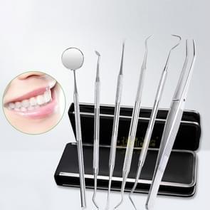 6 in 1 tandheelkundige Tool Set (roestvrij stalen sonde + schoffel-vormige tandarts sikkel tandarts + Tooth vlek afwijzing apparaat + tandheelkundige pincet + mondspiegel)