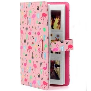 Pink Flamingo Pattern 3 inch DIY PU Mini Creativity Insert Type 32 Pages Exquisite Photo Album for Polaroid